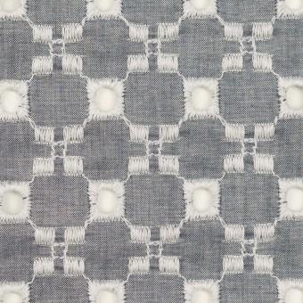 コットン&テンセル×幾何学模様(アッシュネイビー)×ローン刺繍 サムネイル1