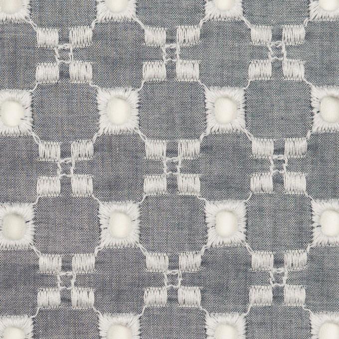 コットン&テンセル×幾何学模様(アッシュネイビー)×ローン刺繍 イメージ1