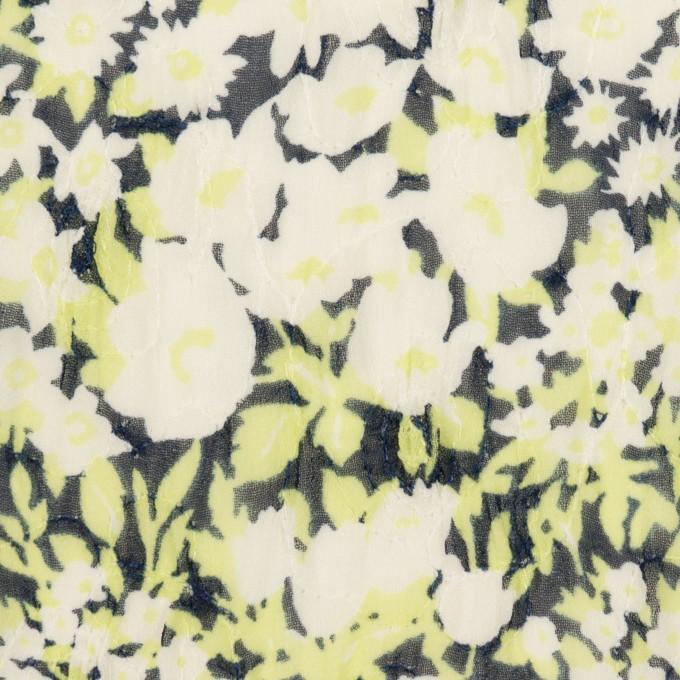 ポリエステル×フラワー(ライムグリーン)×ジョーゼット刺繍_全3色 イメージ1