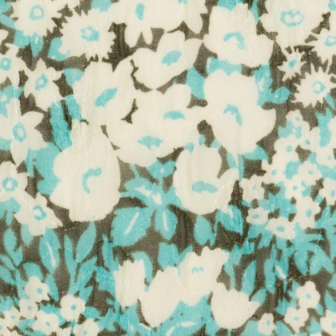 ポリエステル×フラワー(ターコイズ)×ジョーゼット刺繍_全3色 イメージ1
