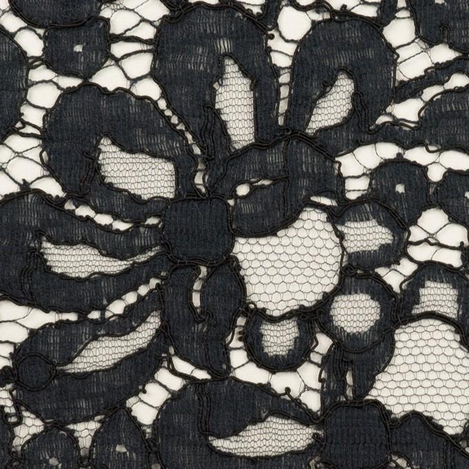 コットン&ビスコース混×フラワー(ネイビー)×リバーレース_フランス製_全3色 イメージ1