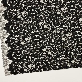 コットン&ビスコース混×フラワー(ブラック)×リバーレース_フランス製_全3色 サムネイル2
