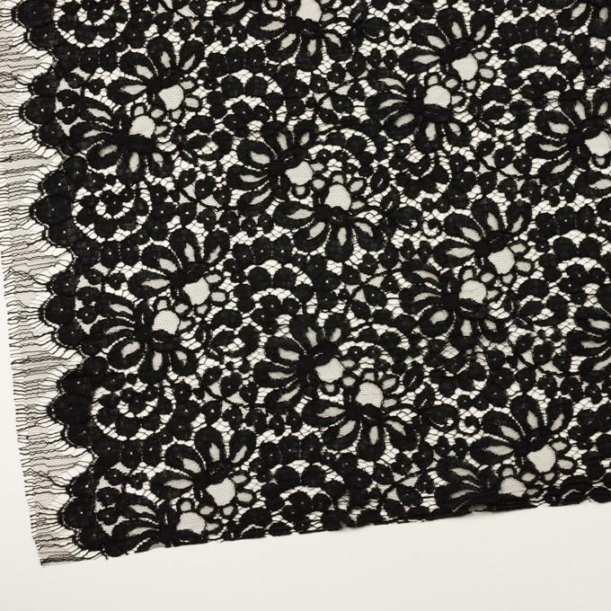 コットン&ビスコース混×フラワー(ブラック)×リバーレース_フランス製_全3色 イメージ2