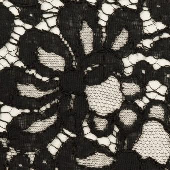 コットン&ビスコース混×フラワー(ブラック)×リバーレース_フランス製_全3色 サムネイル1
