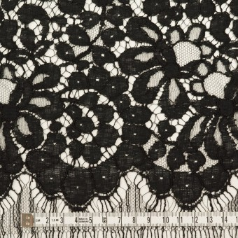 コットン&ビスコース混×フラワー(ブラック)×リバーレース_フランス製_全3色 サムネイル6