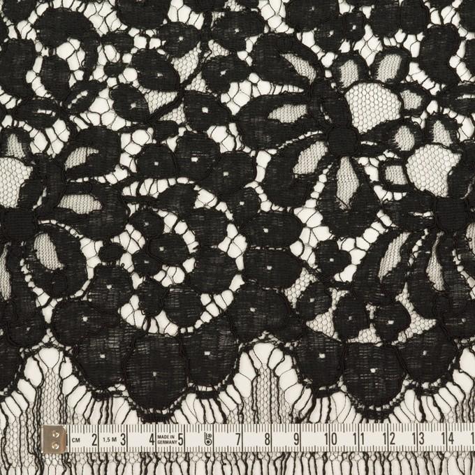 コットン&ビスコース混×フラワー(ブラック)×リバーレース_フランス製_全3色 イメージ6