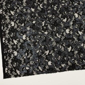 コットン&ビスコース×フラワー(ブラック)×スパン付きラッセルレース サムネイル2
