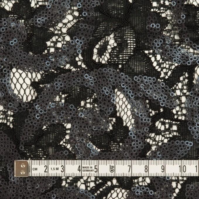 コットン&ビスコース×フラワー(ブラック)×スパン付きラッセルレース イメージ4