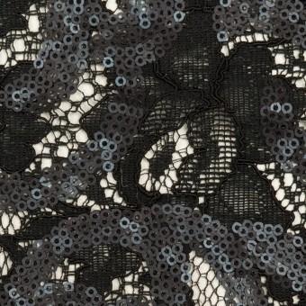 コットン&ビスコース×フラワー(ブラック)×スパン付きラッセルレース