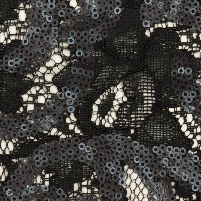 コットン&ビスコース×フラワー(ブラック)×スパン付きラッセルレース イメージ1