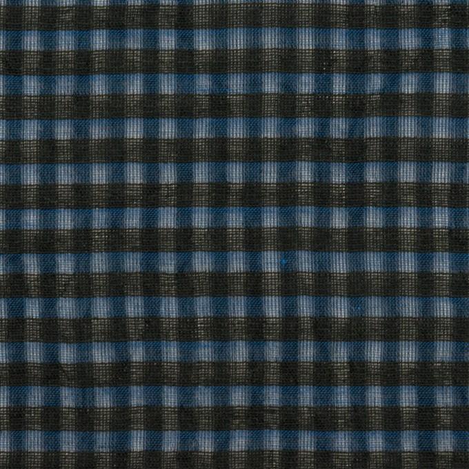 コットン×チェック(ブルー)×ボイルワッシャー_全4色 イメージ1