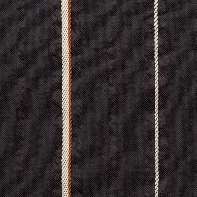 コットン&ポリエステル混×ストライプ(ダークブラウン)×サッカージャガード_全2色 イメージ1