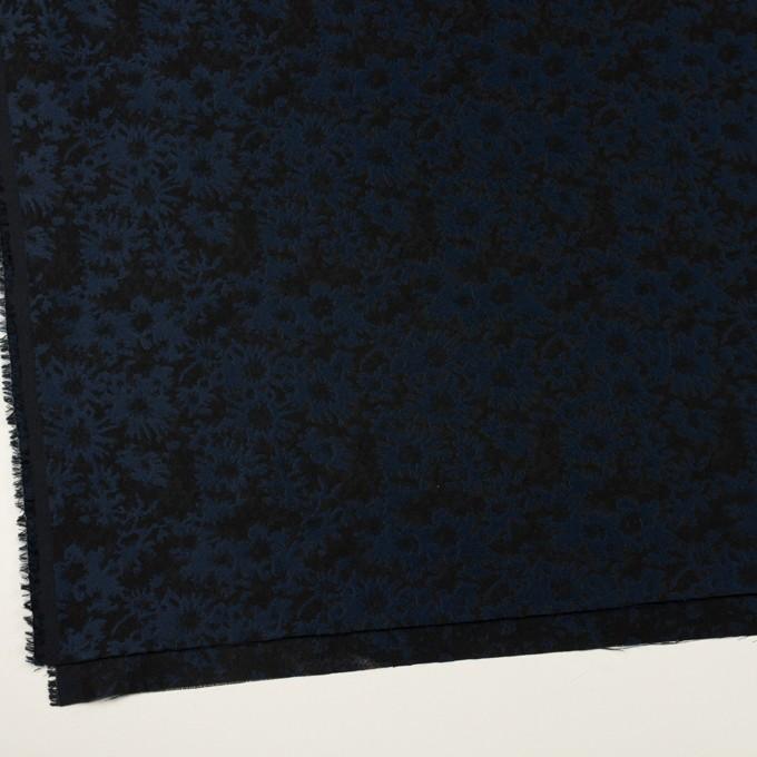 ポリエステル&アクリル混×フラワー(プルシアンブルー&ブラック)×ジャガード_全2色 イメージ2