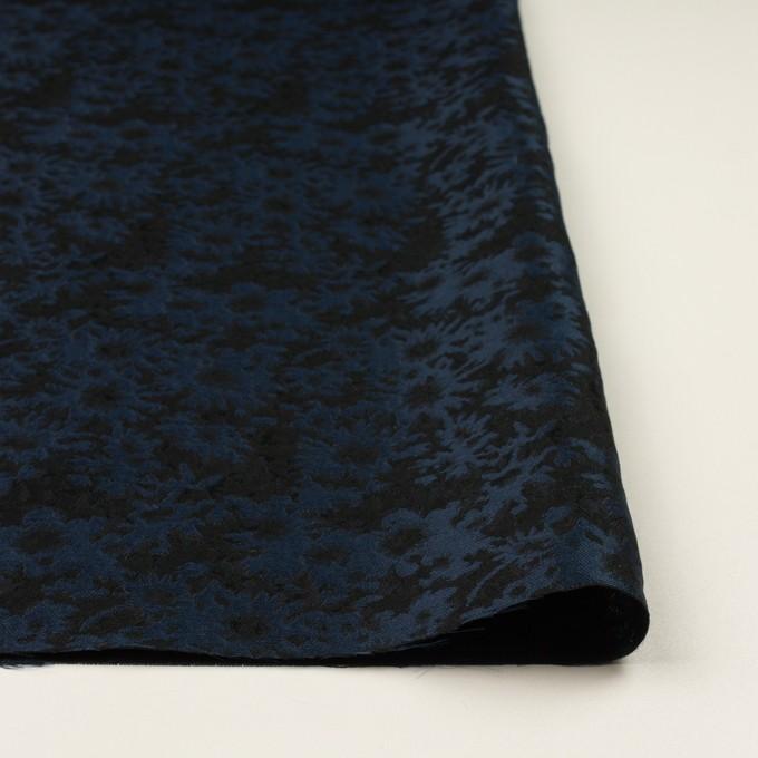 ポリエステル&アクリル混×フラワー(プルシアンブルー&ブラック)×ジャガード_全2色 イメージ3