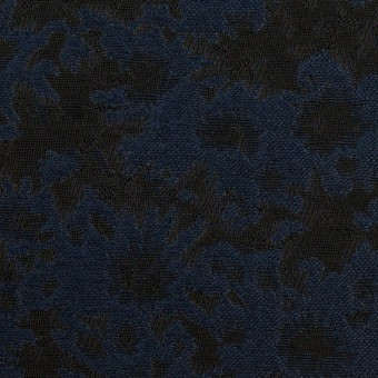 ポリエステル&アクリル混×フラワー(プルシアンブルー&ブラック)×ジャガード_全2色