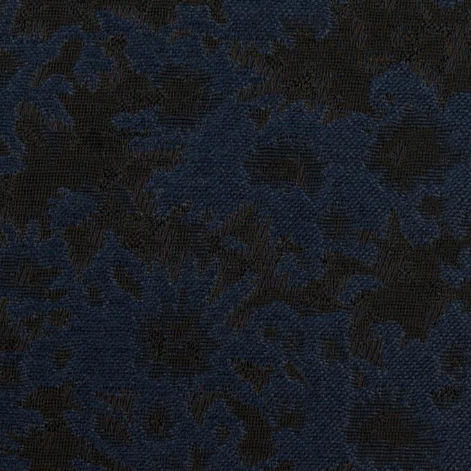 ポリエステル&アクリル混×フラワー(プルシアンブルー&ブラック)×ジャガード_全2色 イメージ1