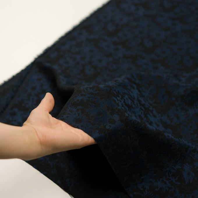 ポリエステル&アクリル混×フラワー(プルシアンブルー&ブラック)×ジャガード_全2色 イメージ5