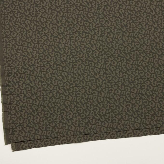 コットン&ポリウレタン×レオパード(アッシュカーキグリーン)×ジャガード・ストレッチ イメージ2