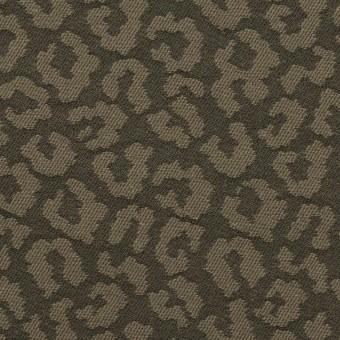コットン&ポリウレタン×レオパード(アッシュカーキグリーン)×ジャガード・ストレッチ