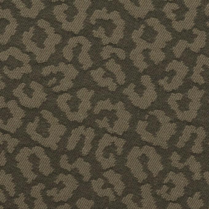 コットン&ポリウレタン×レオパード(アッシュカーキグリーン)×ジャガード・ストレッチ イメージ1