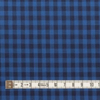 コットン×チェック(マリンブルー&ブラック)×サージ サムネイル4