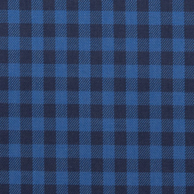 コットン×チェック(マリンブルー&ブラック)×サージ イメージ1