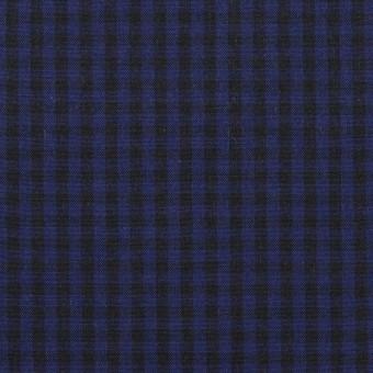 コットン×チェック(プルシアンブルー&ブラック)×ポプリン