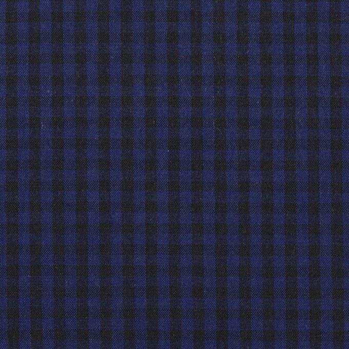 コットン×チェック(プルシアンブルー&ブラック)×ポプリン イメージ1