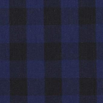 コットン×チェック(プルシアンブルー&ブラック)×ポプリン サムネイル1