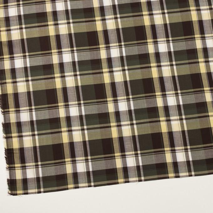 コットン&レーヨン×チェック(カーキグリーン&ブラウン)×サージ イメージ2