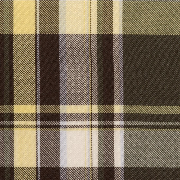 コットン&レーヨン×チェック(カーキグリーン&ブラウン)×サージ イメージ1