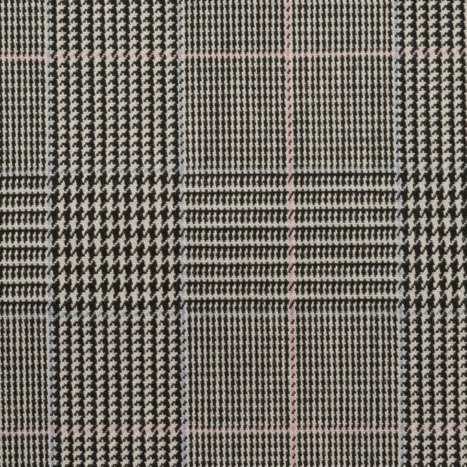 コットン&ポリウレタン×チェック(チャコールグレー)×千鳥格子ストレッチ イメージ1