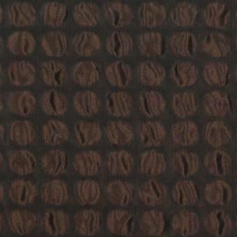ポリエステル×サークル(アプリコット&ブラック)×シャンブレータフタ_塩縮加工