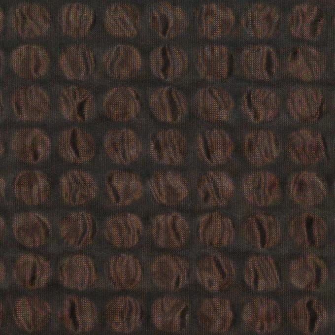 ポリエステル×サークル(アプリコット&ブラック)×シャンブレータフタ_塩縮加工 イメージ1