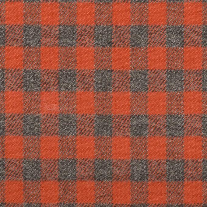 コットン×チェック(オレンジレッド&チャコールグレー)×ビエラ_全4色 イメージ1
