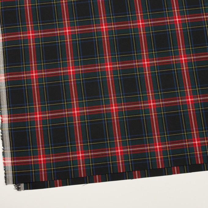 ポリエステル&レーヨン×チェック(ブラック、レッド&モスグリーン)×サージ イメージ2
