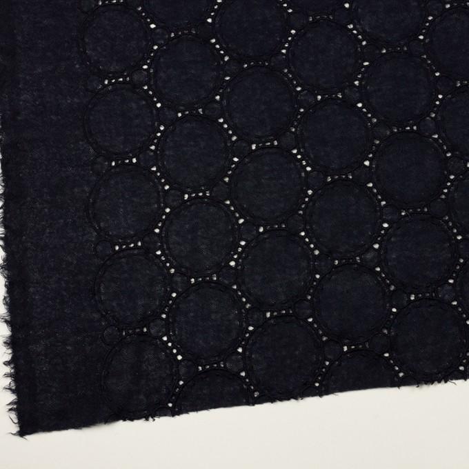 ウール×サークル(ダークネイビー)×ガーゼ刺繍 イメージ2