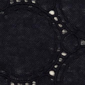 ウール×サークル(ダークネイビー)×ガーゼ刺繍