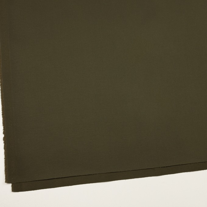 コットン×無地(ダークカーキグリーン)×サテンストレッチ イメージ2
