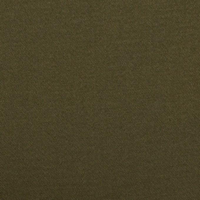 コットン×無地(ダークカーキグリーン)×サテンストレッチ イメージ1