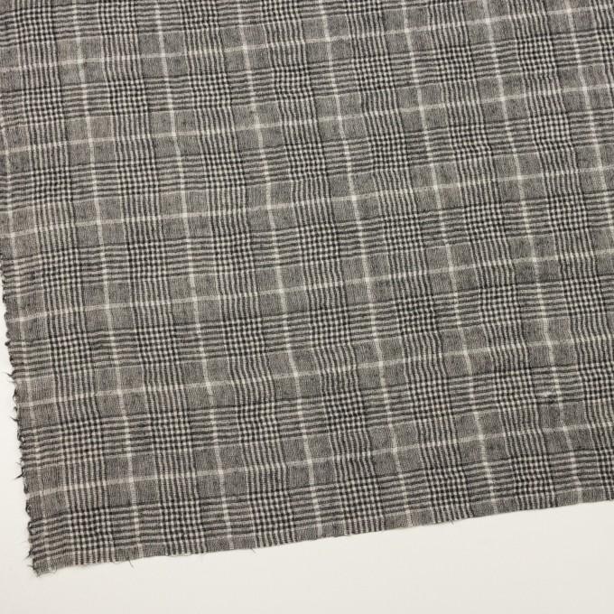 ウール×チェック(オフホワイト&ブラック)×ガーゼ イメージ2