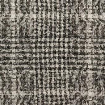 ウール×チェック(オフホワイト&ブラック)×ガーゼ