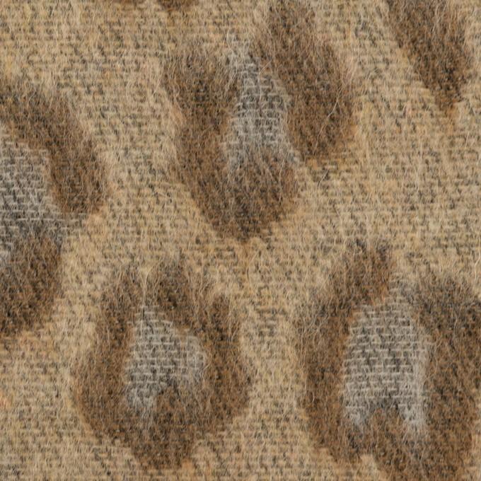 ウール&ポリエステル混×レオパード(モカブラウン)×シャギージャガード_全2色 イメージ1