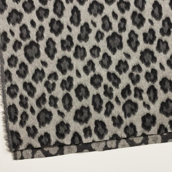 ウール&ポリエステル混×レオパード(シルバーグレー)×シャギージャガード_全2色 イメージ2