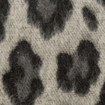 ウール&ポリエステル混×レオパード(シルバーグレー)×シャギージャガード_全2色