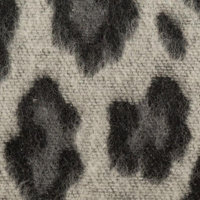ウール&ポリエステル混×レオパード(シルバーグレー)×シャギージャガード_全2色 イメージ1