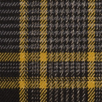 ウール&ポリウレタン×チェック(グレー&ダークネイビー)×ツイードストレッチ サムネイル1