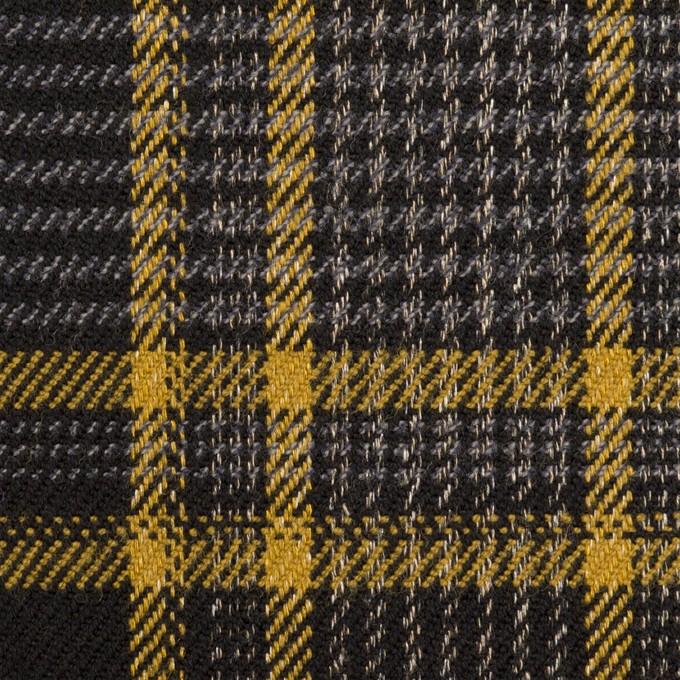 ウール&ポリウレタン×チェック(グレー&ダークネイビー)×ツイードストレッチ イメージ1