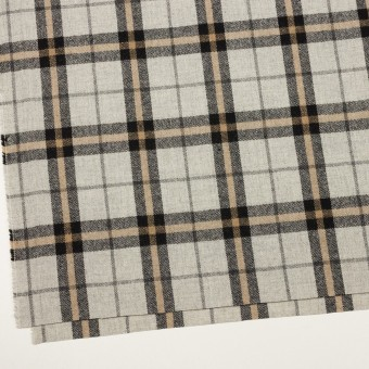 ウール&ポリエステル混×チェック(ライトグレー、ベージュ&ブラック)×ツイードストレッチ サムネイル2