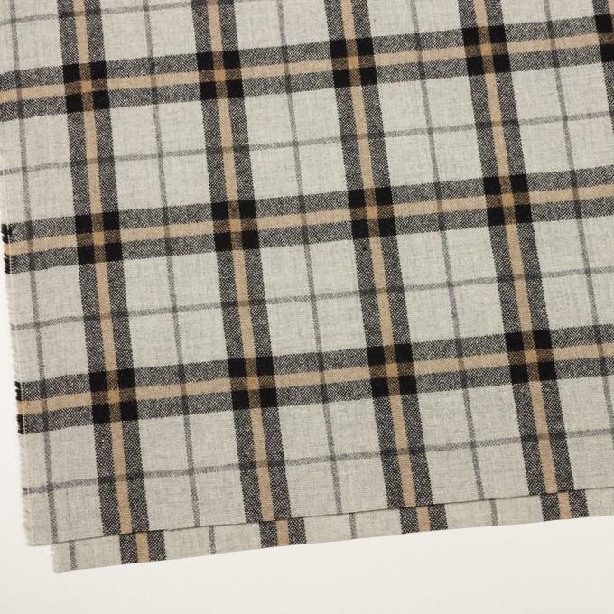 ウール&ポリエステル混×チェック(ライトグレー、ベージュ&ブラック)×ツイードストレッチ イメージ2